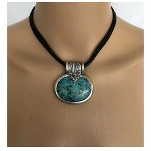 CHICOS Women's Silver & Turquoise Necklace Chocker
